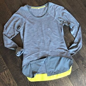 Lululemon  long sleeve, gray with yellow accents